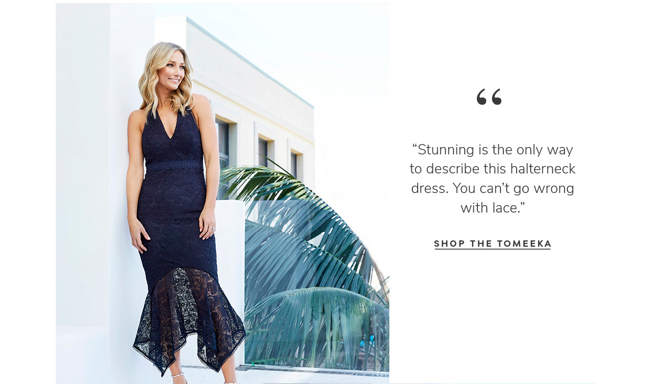 """""""Stunning is the only way to describe this halterneck dress. You can't go wrong with lace.†SHOP THE tomeeka"""