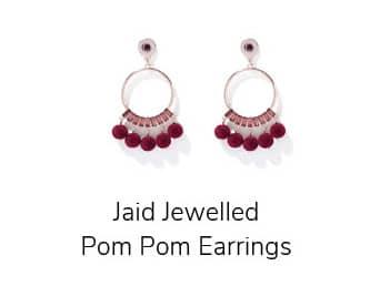 Jaid Jewelled Pom Pom Earrings