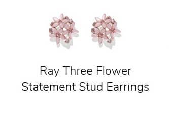 Ray Three Flower Statement Stud Earrings