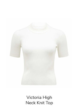Victoria High Neck Knit Top