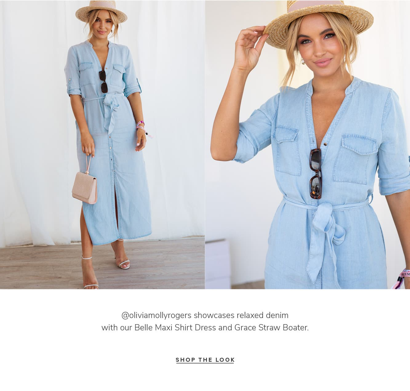 @oliviamollyrogers showcases relaxed denim with our Belle Maxi Shirt Dress and Grace Straw Boater. SHOP THE LOOK